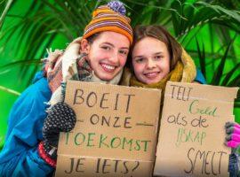 Ianthe en Ellis uit Utrecht 'spijbelen' om te demonstreren voor het klimaat